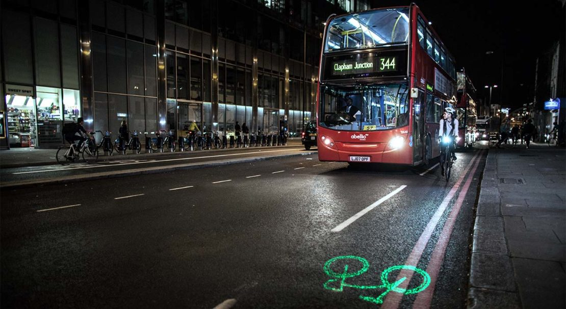 The Laserlight projects an image of a bicycle onto the road, warning traffic that a cyclist is coming