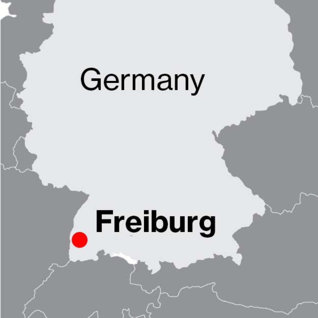 Map of Freiburg's location in the south-west of Germany