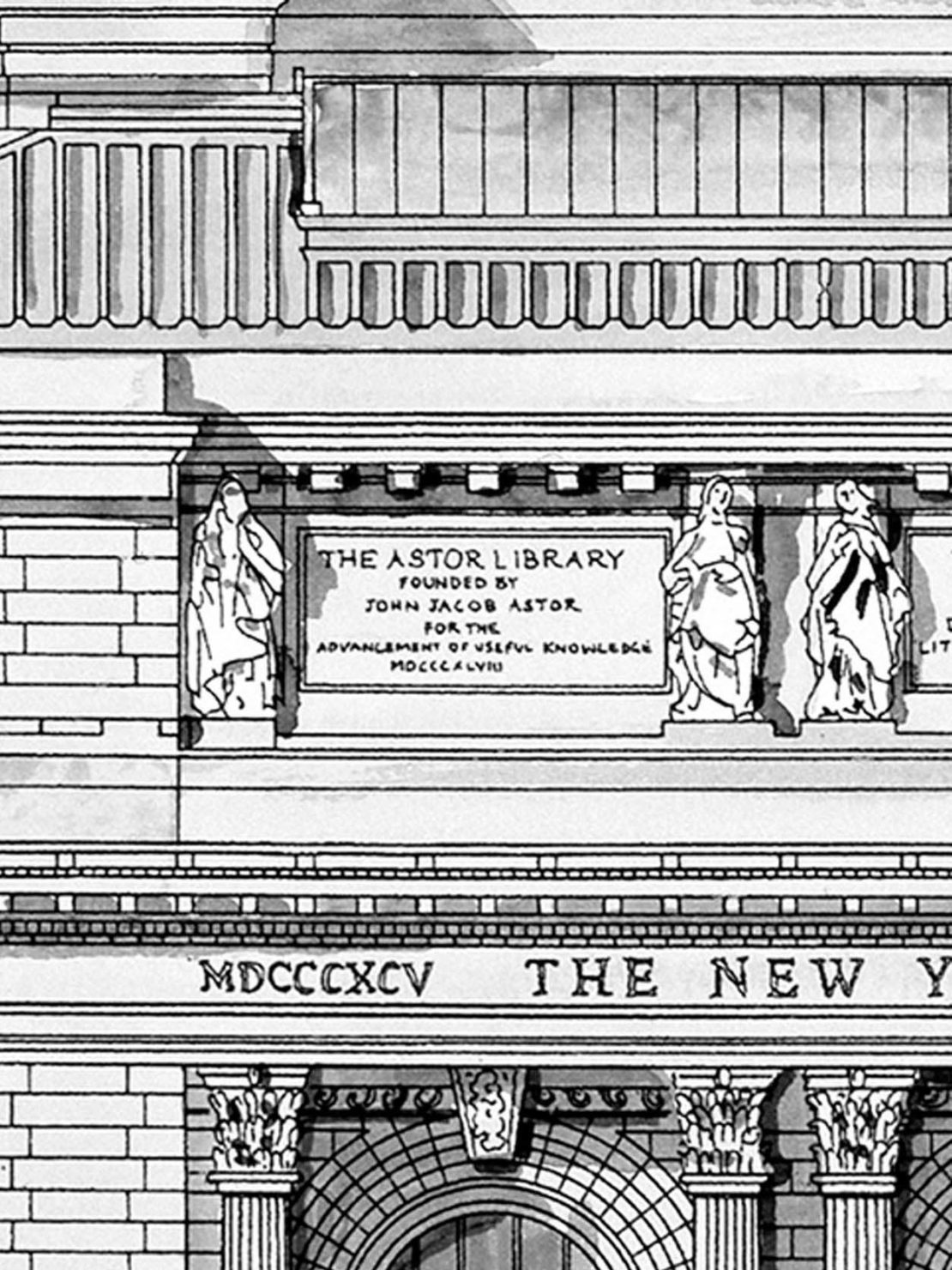 Drawing of the New York Public Library