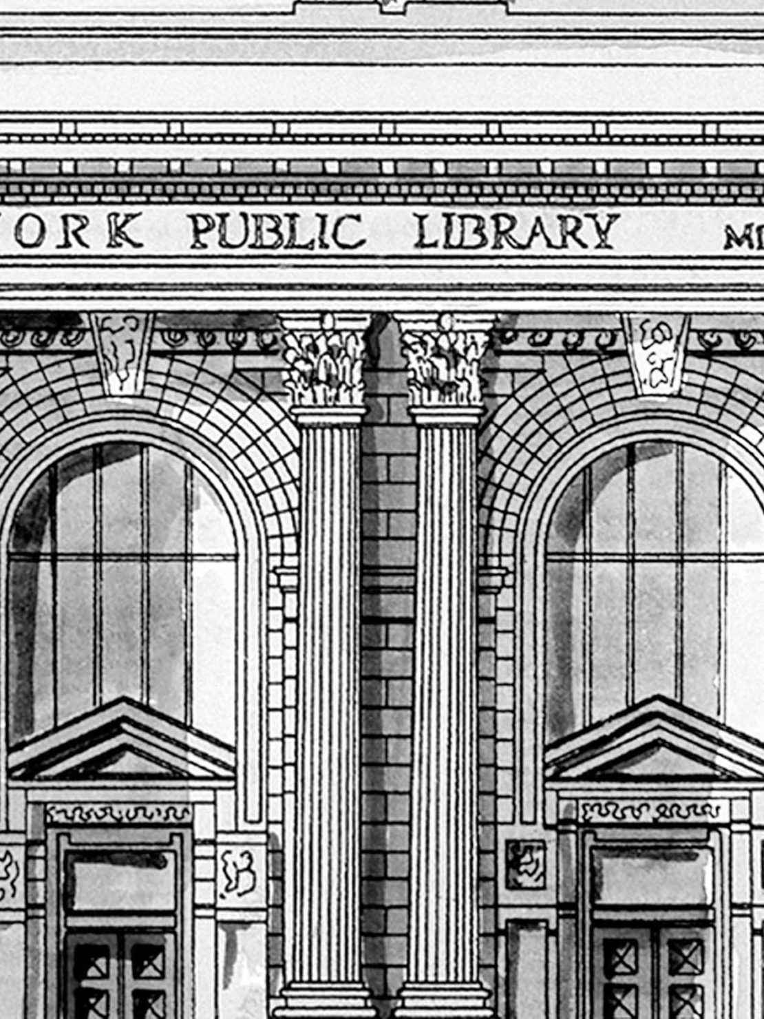 Drawing of the NYPL