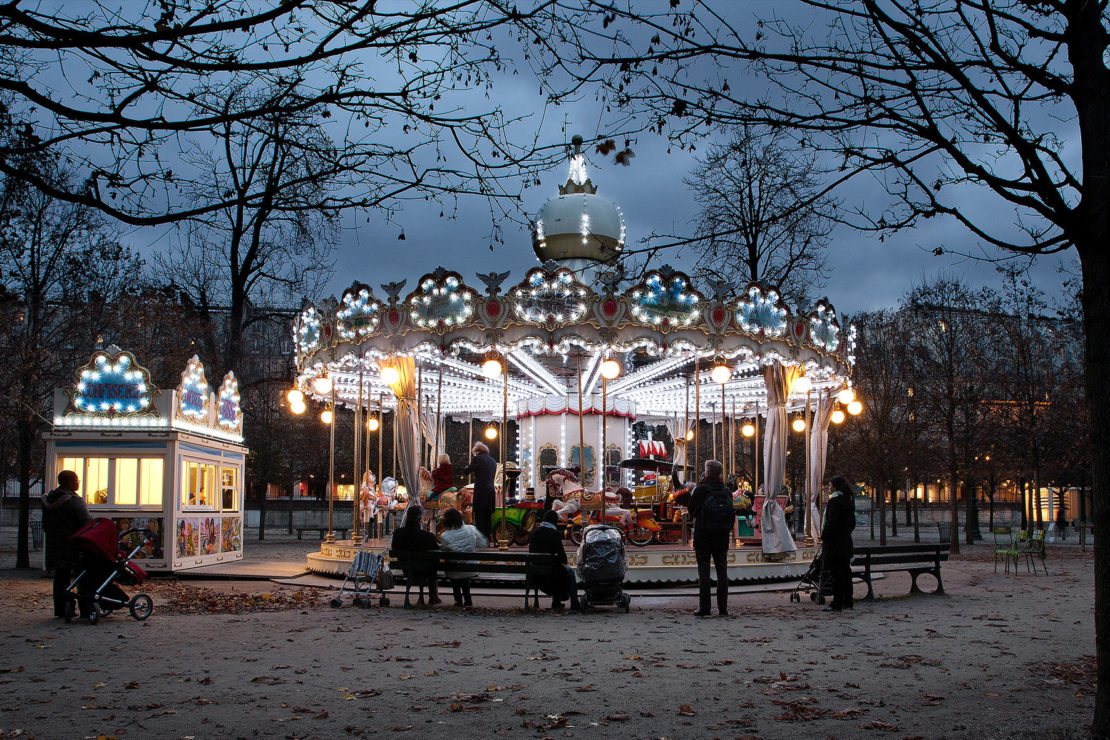 The children's carousel at Tuileries Garden, in the 1st arrondissement