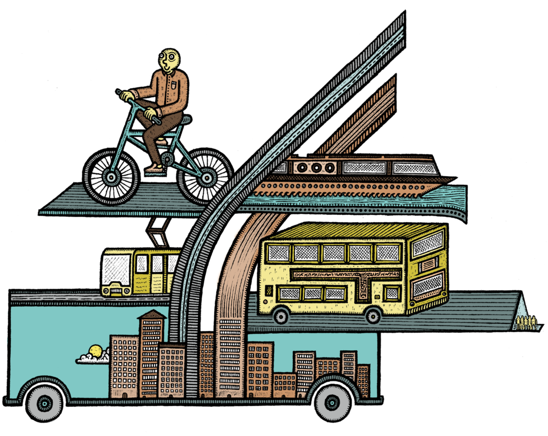 Bicycles, waterways, trams and busses