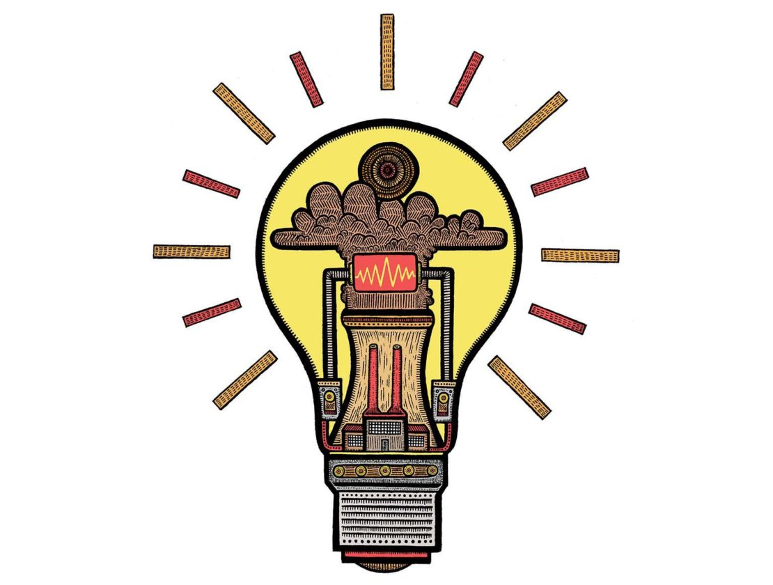 Lightbulb illustration, steam-powered