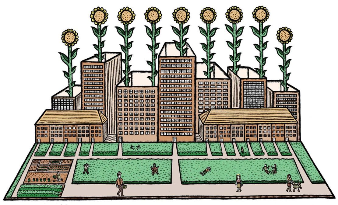 Green city illustration by Mike Stout