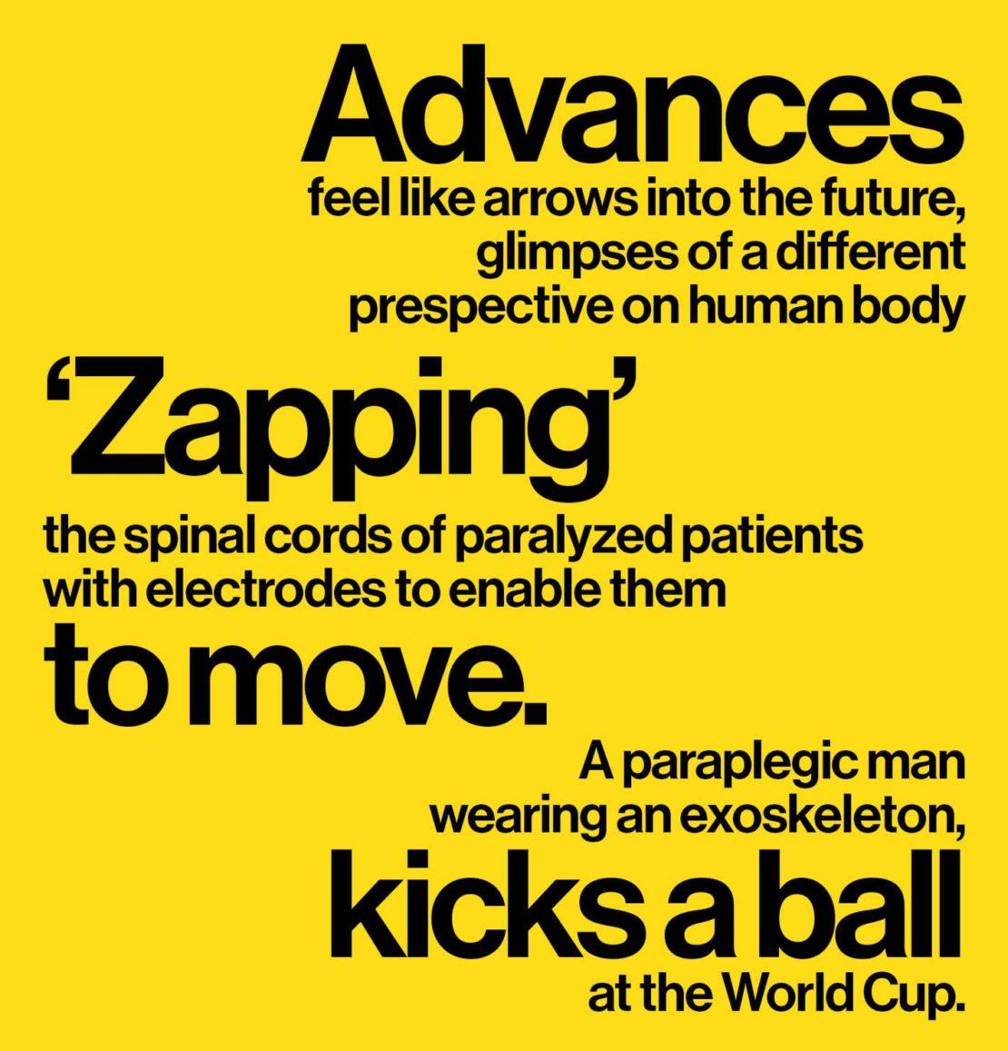 Text: Advances feel like arrows into the future