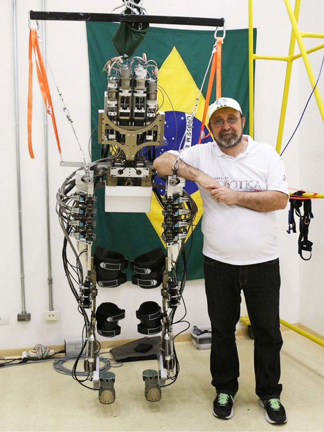 Neuroscientist Dr Miguel Nicolelis with his exoskeleton machinery