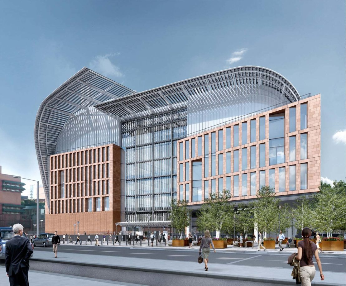 Rendering of the Francis Crick Institute's main entrance on Midland Road