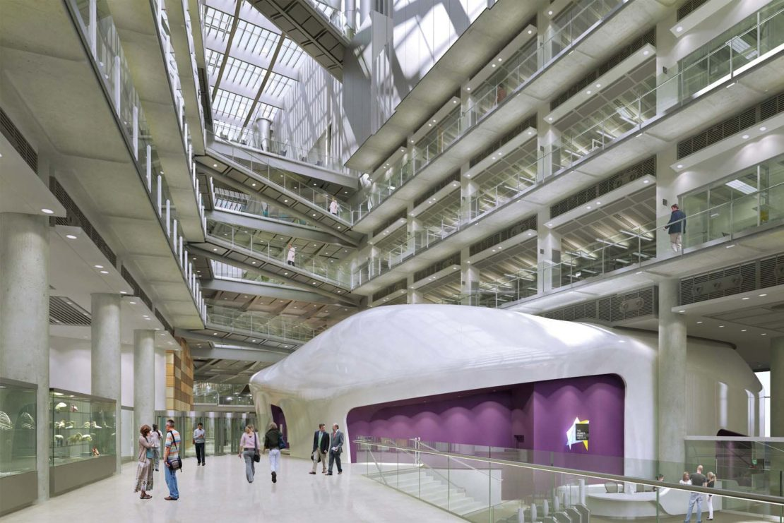 CGI image of the Francis Crick Institute's reception area