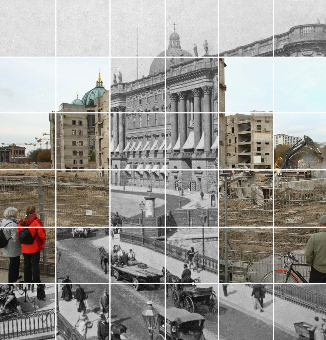 Photo montage of Berlin's 18th century City Palace in its original sombre grandeur, and the current building project recreating it on the same site