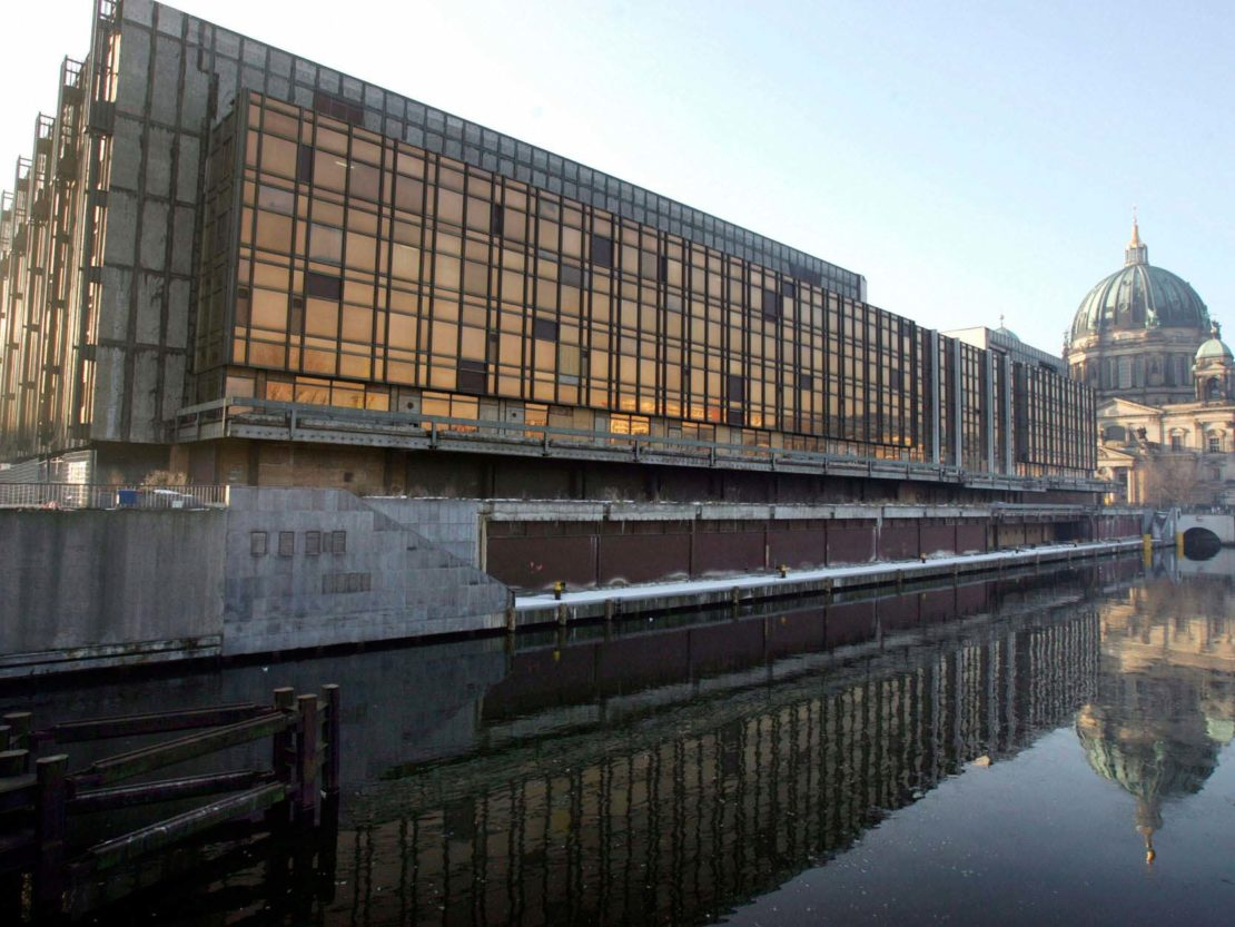 The vast glass structure of the Palace of the Republic in Berlin was stripped and dismantled in the 1990s