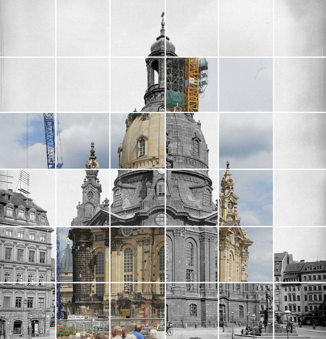 Photo montage of Dresden's baroque Frauenkirche before it was destroyed in 1945 and after it was rebuilt in 2005