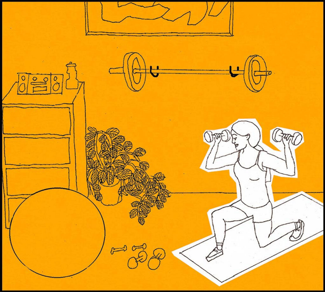 Illustration: exercising in a home gym