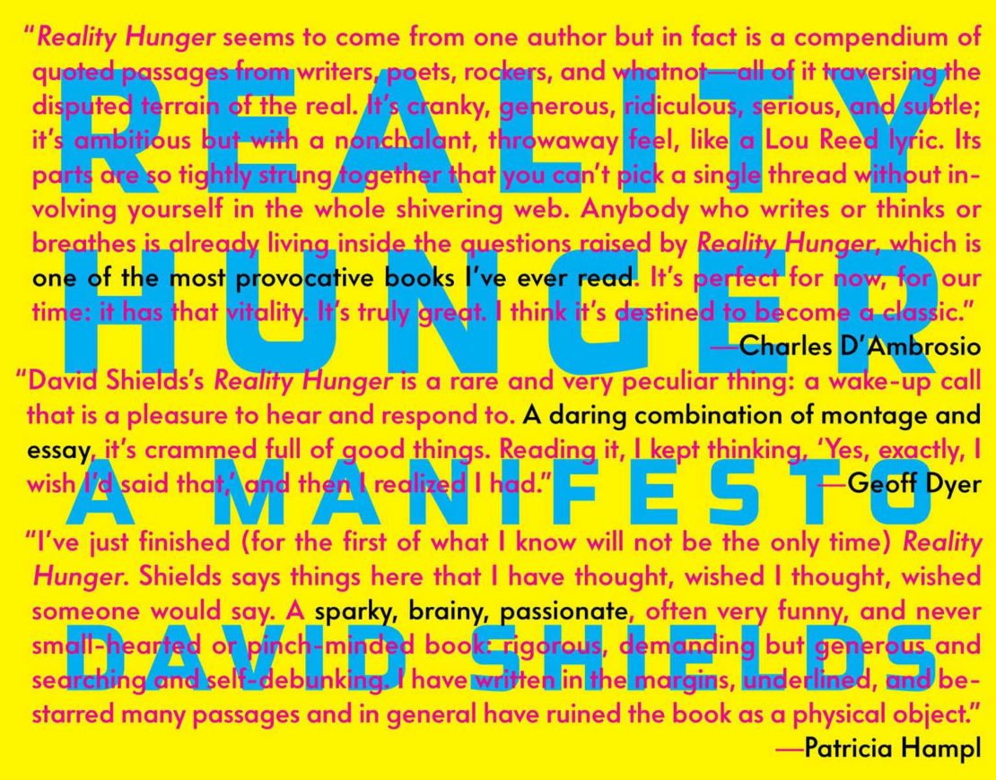Book cover of David Shields' Reality Hunger