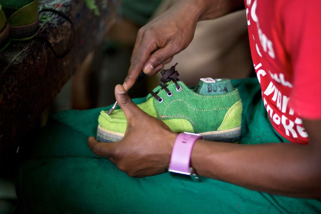 The finishing touches are made to the shoe