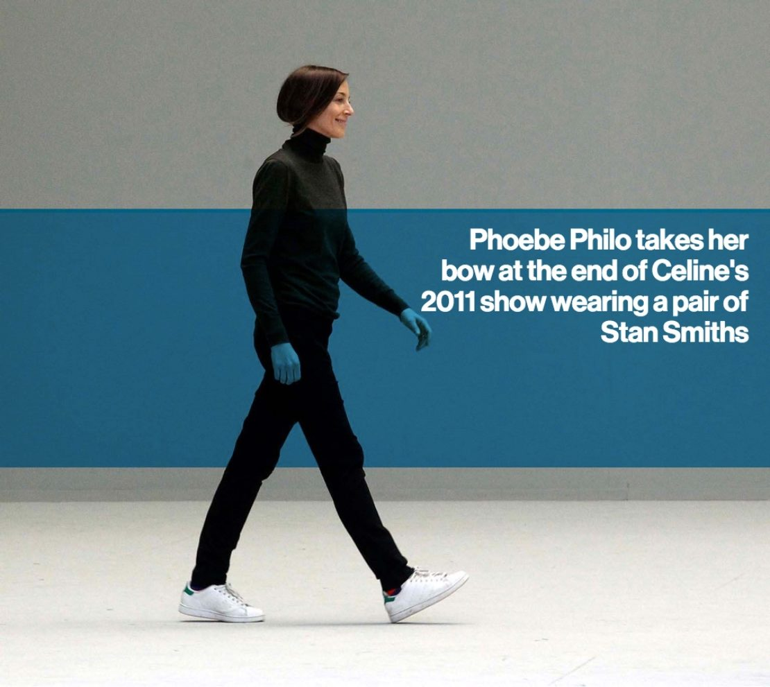 Phoebe Philo takes her bow at the end of Celine's 2011 show wearing a pair of Stan Smiths