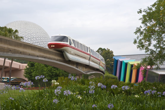 Monorail train at EPCOT centre in Disneyworld